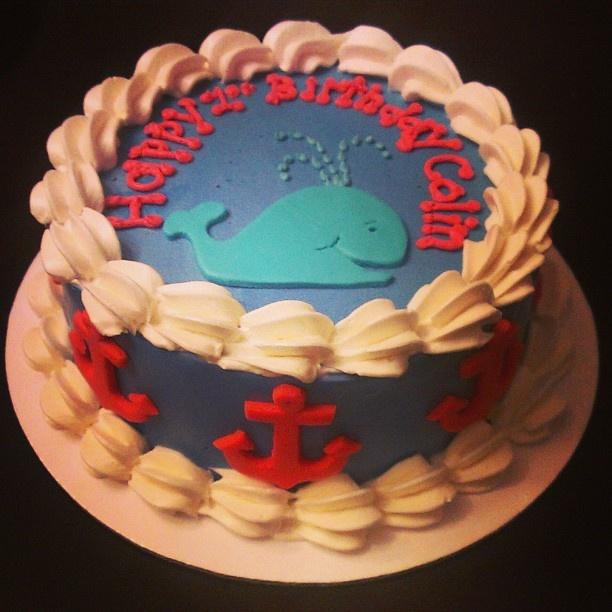 Cute Whale and Anchor Birthday Cake. valscakeandbake.com