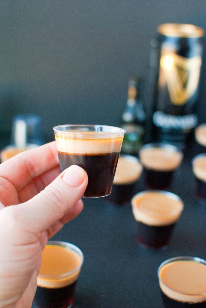 Baby Guinness Jello Shots for Saint Patrick's Day: Made with Guinness Stout, Bailey's Irish Cream, and Double Espresso Vodka or Cafe Patron!