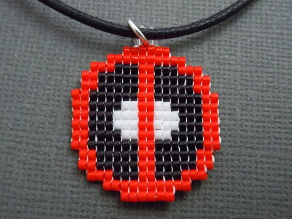 Deadpool Symbol Necklace Seed Bead Beaded Pixelated by Pixelosis, $15.00