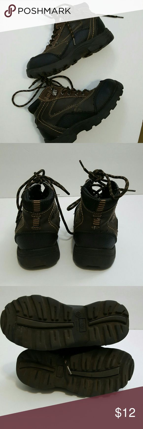 Boy's hiking boots Boy's brown hiking boots Size 12 Lace up  Man made material Used but lots of wear left Shoes Boots