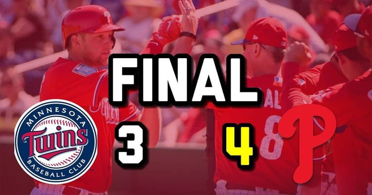 Phillies beat the Twins 4-3. Rhys Hoskins hit a solo homerun Andrew Knapp hit a sac fly Carlos Santana hit a RBI double and Maikel Franco hit an RBI double as well. #Phillies  #MLB  #Baseball