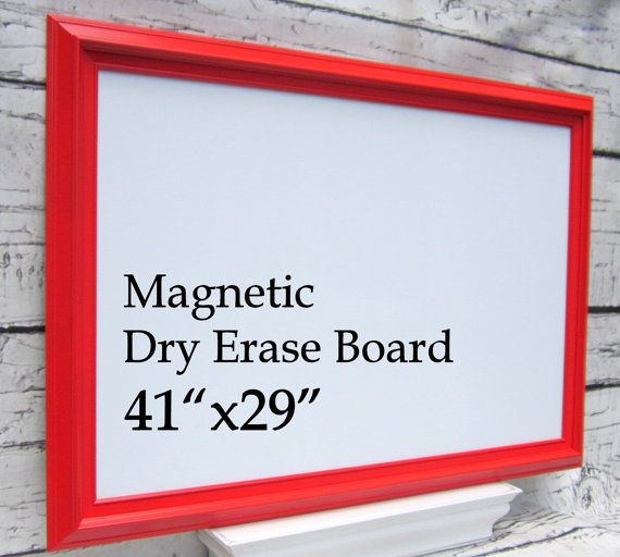 "FRAMED WHITEBOARDS For SALE Red and White Framed Chalkboard Framed Magnetic Dry Erase Board Office Decor 41""x29"" Organizer Magnetic Board"