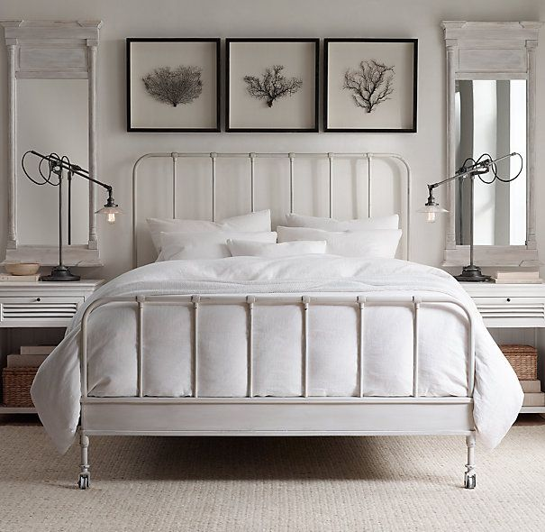 "Dutch Industrial Bed With Footboard  Twin: 42""W x 80""L x 59""H Full: 57""W x 80""L x 59""H  Crafted of iron and steel finished with hand-applied patina Distressed, oxidized, powder-coated finish lends it the patina of age Includes a metal support system; requires a standard mattress and box spring Functioning caster wheels"