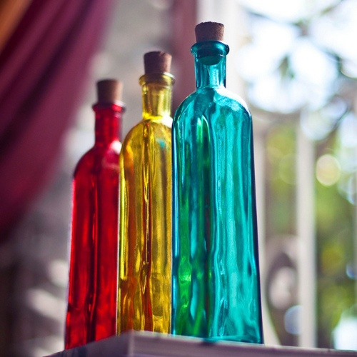 17 best images about glass vases on pinterest for Where to buy colored wine bottles