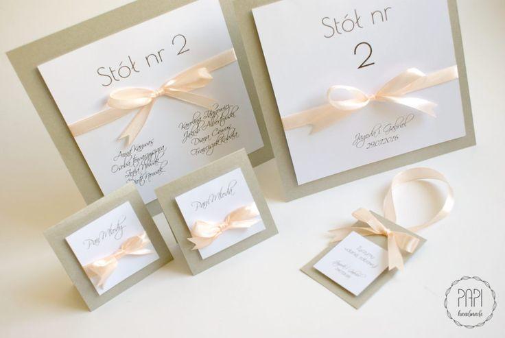 Elegancki zestaw ślubny ze wstążką   Kartki ręcznie robione, zaproszenia ślubne handmade Poznań
