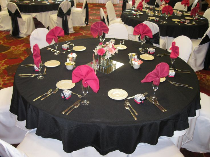 pink and black table settings