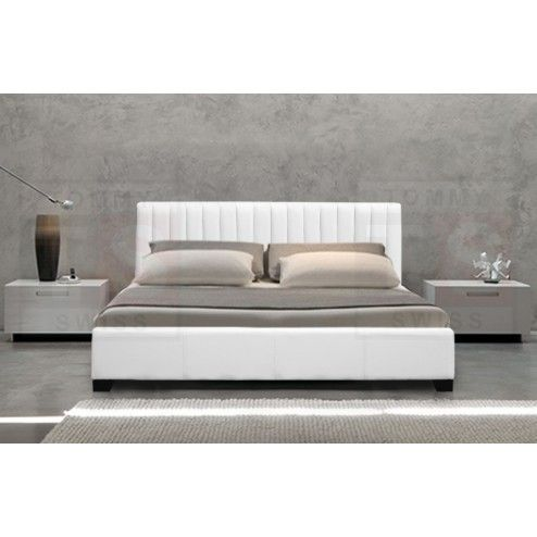 Queen Size PU Leather Bed Frame (Monaco Collection, White, B103QW)