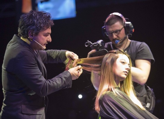 Angelo Seminara on-stage at Cosmoprof 2013! Click to view Angelo's exclusive Davines Collections at our website.