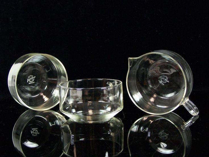 3-tlg. DDR Teeset Schott&Gen feuerfestes Saale Glas Teeglas Milchkännchen Schale | eBay