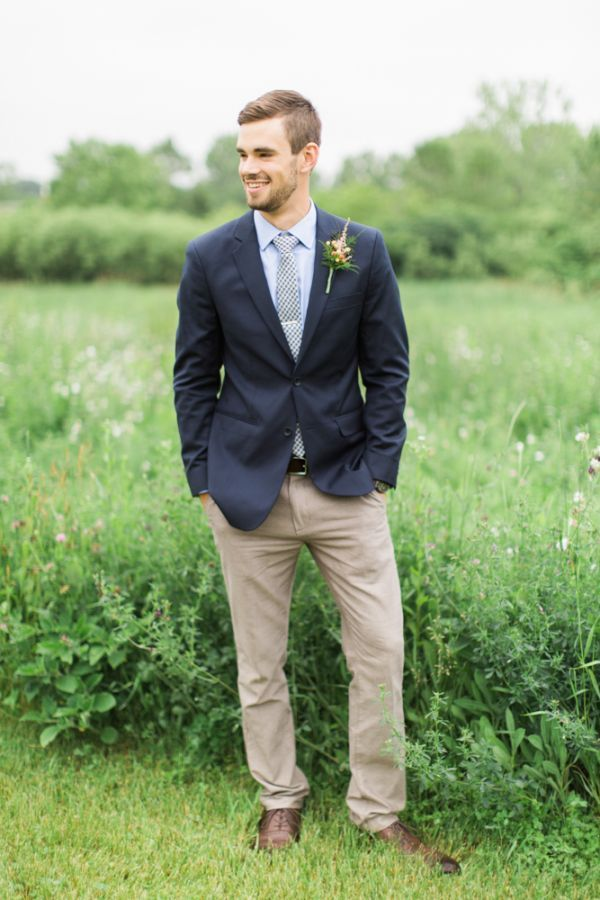 Classic blue suit with khaki pants