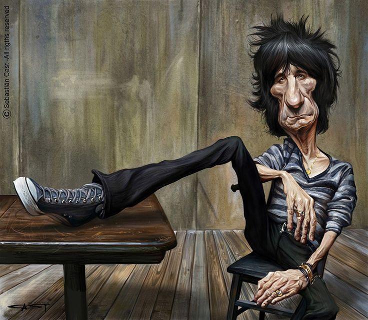 Caricatura de Ron Wood (The Rolling Stones).