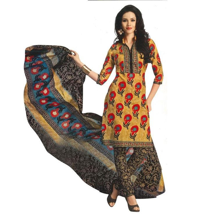 Lotus Mustard Colored Printed Salwar Suit With Dupatta