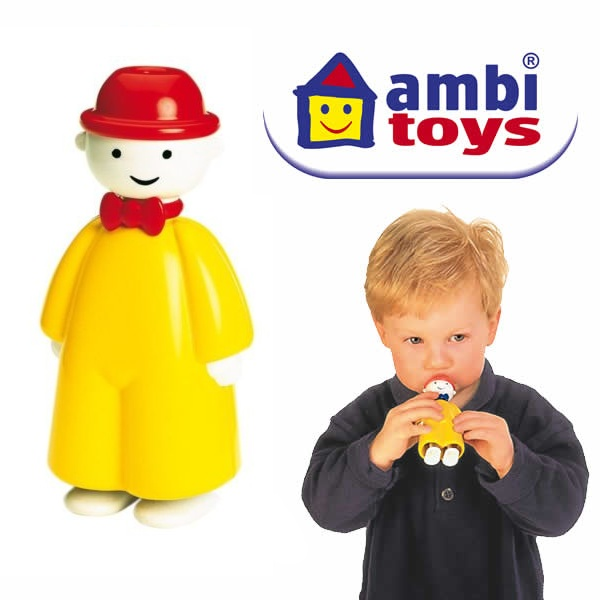 "AMBI TOYS - ""Tommy Toot""  One of the only plastic toys my daughter hugs like a baby.  Bought Tommy years before I even thought about having children simply because he's so cute.  Unique whistle because it makes a squeak when you inhale."