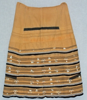 Africa | Woman's Skirt from the Xhosa people of South Africa | ca. 1950 | Wool cloth, ribbon, glass beads and buttons.
