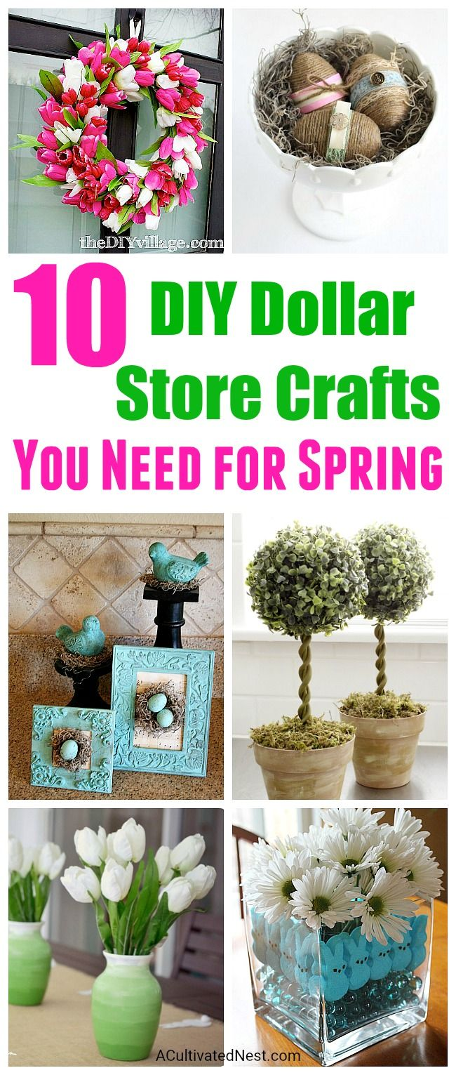10 Adorable DIY Dollar Store Spring Crafts- Decorating your home for spring doesn't have to cost a lot. You can make your own inexpensive spring decor using items from the dollar store! For inspiration, check out these 10 adorable DIY dollar store spring crafts! | DIY wreath, display, centerpiece, bunny, eggs, birds, #diy #dollarstorecrafts #spring #Easter