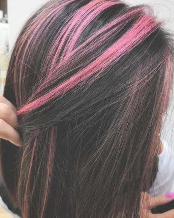 Straight Black With Pink Highlights Black Hair With Highlights Hair Color For Black Hair Hair Highlights
