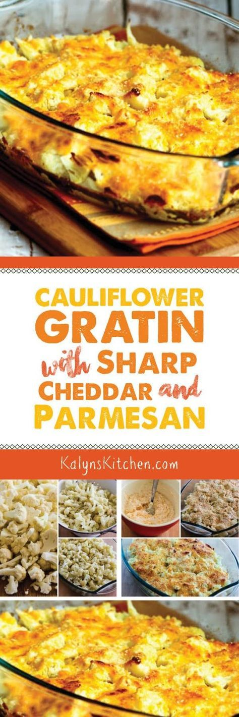 Cauliflower Gratin with Sharp Cheddar and Parmesan is an amazing and easy-to-make side dish that's low-carb, Keto, low-glycemic, gluten-free, meatless, and South Beach Diet friendly. [found on KalynsKitchen.com]