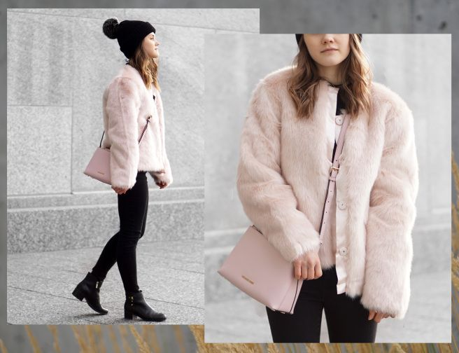 Pink Faux Fur Coat & Black Bobble Hat