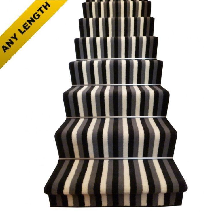 Broad 10 Black & Grey - Stripe Stair Carpet Runner For Narrow Staircase Modern