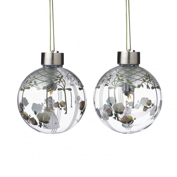 Glass baubles with Flower girl & LED light, SMALL