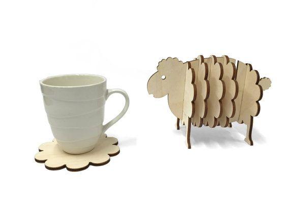 Monta a rusa de madera oveja establece posavasos animal for Decoracion en madera para el hogar