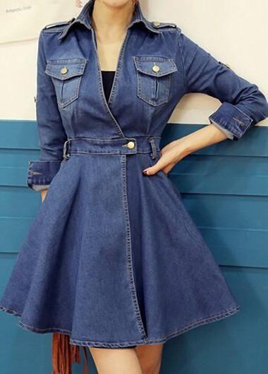 Stunning Waist Turndown Collar Blue Mini Dress