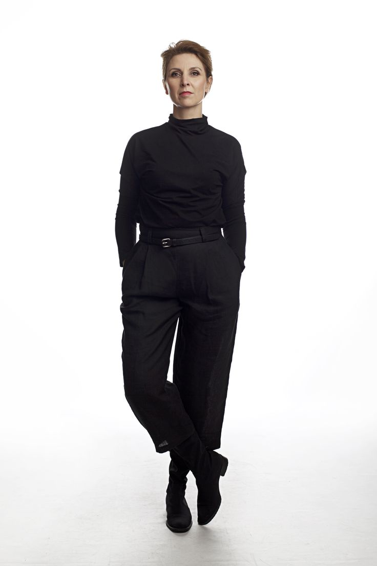 linen culottes trouses, and black  shirt classic , black outfit.