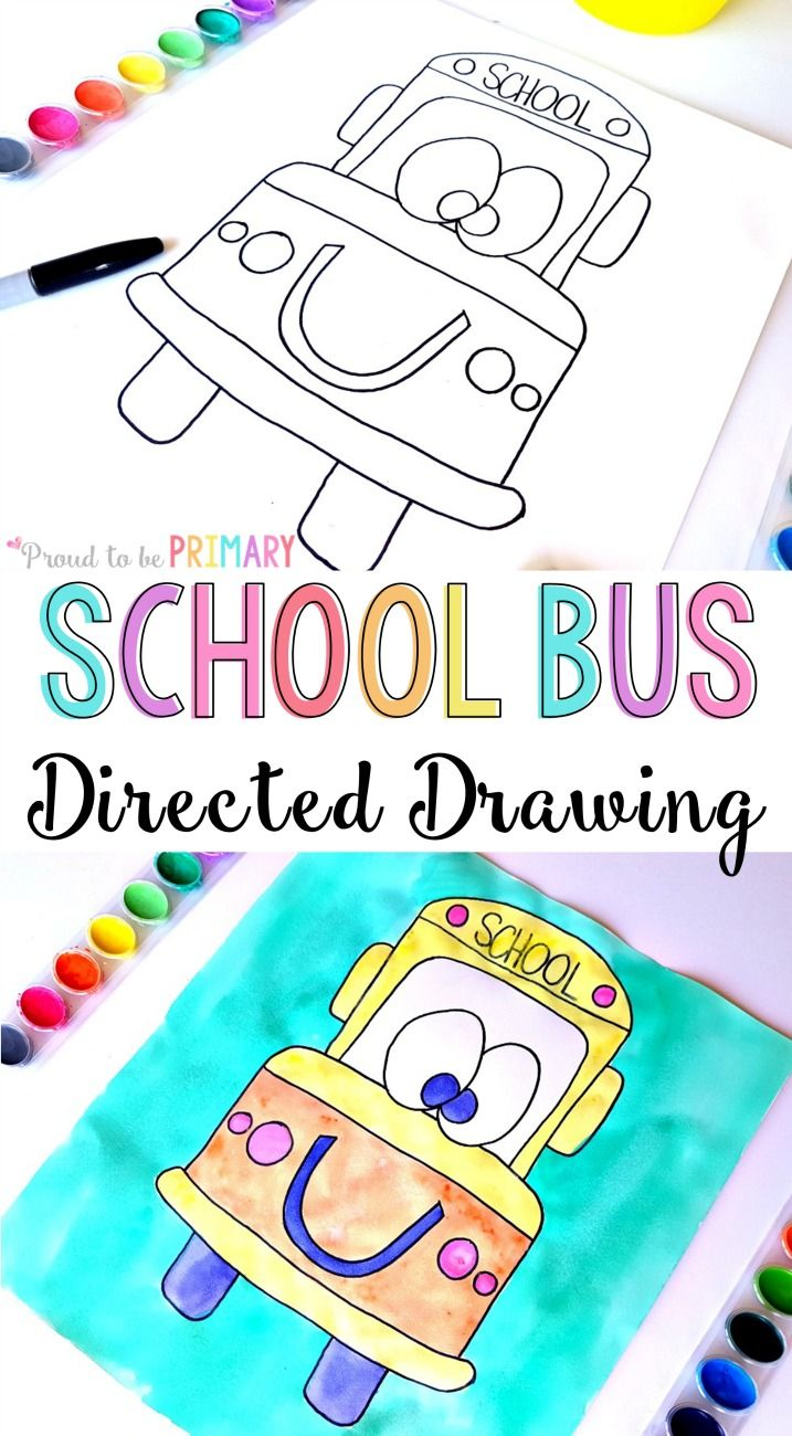 Check this adorable back to school bus directed drawing art activity for kids. It includes easy DIY step by step instructions that you can download for FREE to use in your classroom today! These would make the perfect bulletin board for back to school season.
