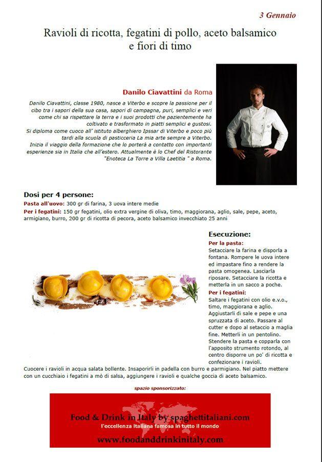 """La Ricetta di oggi 3 Gennaio dall'archivio di Ricette 3.0 di spaghettitaliani.com - Ravioli di ricotta - fegatini di pollo - aceto balsamico e fiori di timo ( Primi - Tortellini, ravioli ) inserita da Danilo Ciavattini - La ricetta si trova anche nel Libro """"Una Ricetta al Giorno... ...leva il medico di torno"""" prodotto dall'Associazione Spaghettitaliani, per acquistarlo: http://www.spaghettitaliani.com/Ricette2013/PrenotaLibro.php"""