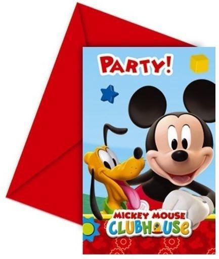 6 Uitnodigingen Mickey Mouse