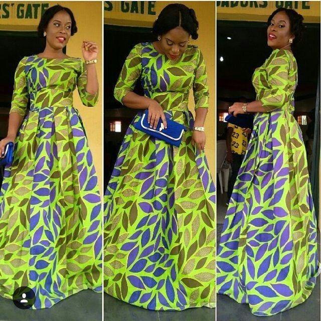 African Print Maxi Gown Dress ~ African fashion, Ankara, kitenge, Kente, African prints, Braids, Asoebi, Gele, Nigerian wedding, Ghanaian fashion, African wedding ~DKK