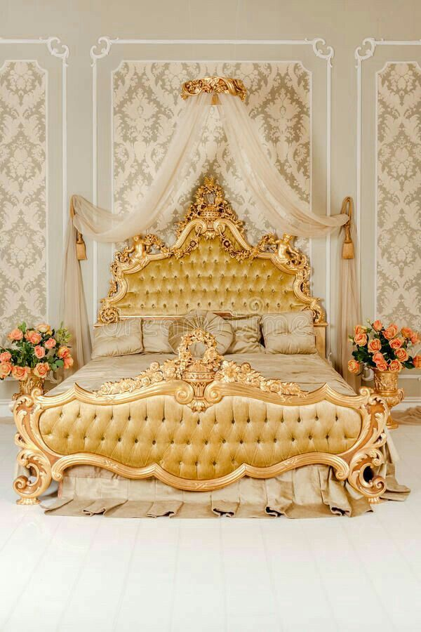 An Antique Inspired Bed Beautiful Golden Colors The Beautiful