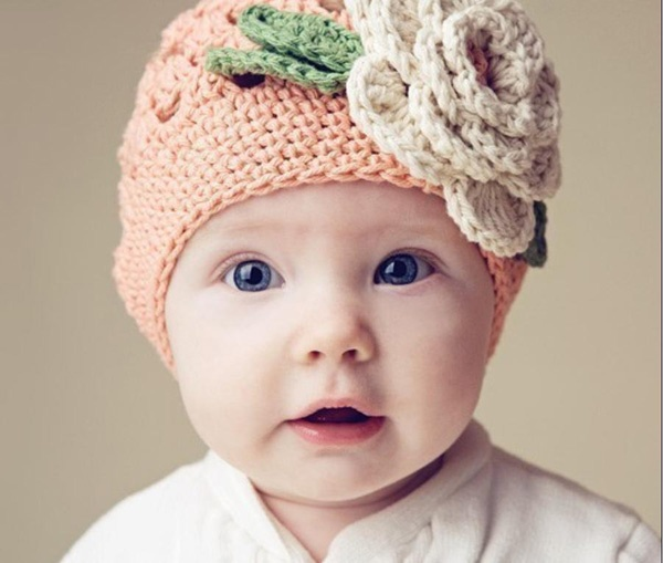 Baby Knitted Headband : Knitted Hat for Kids - Pink