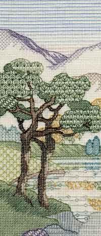 Mountain Pines Blackwork Kit from Derwentwater Designs