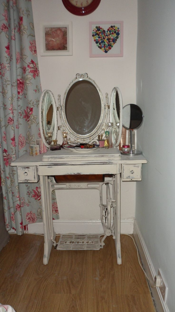 this dressing table done from a old singer sewing machine stayed at my house  so cute