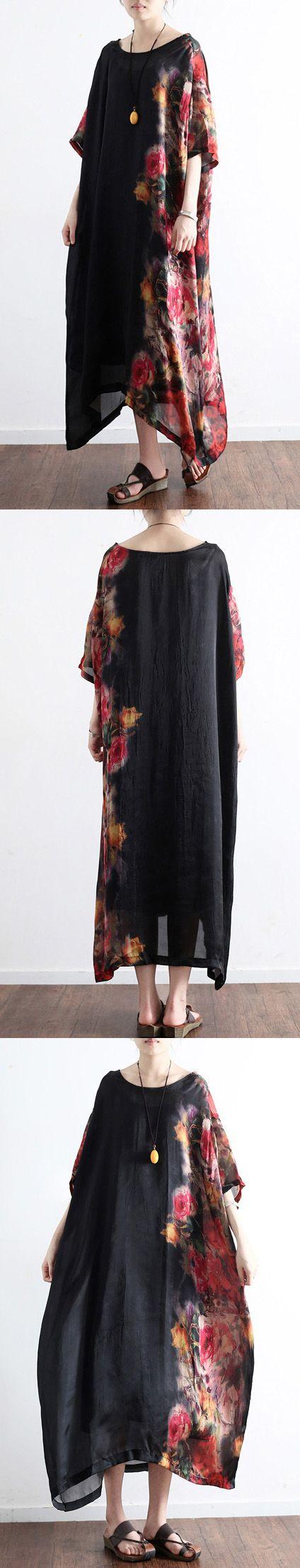 2017 black prints silk dresses plus size sundress patchwork short sleeve maxi