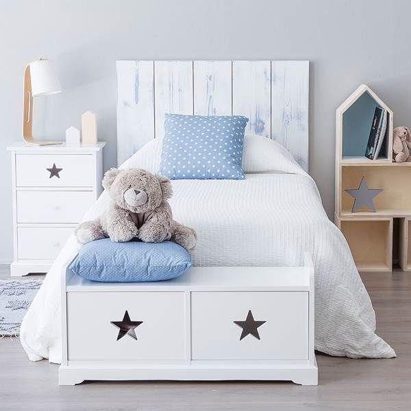 Excelente Cama De Almacenamiento Completa Muebles Blancos Ornamento ...