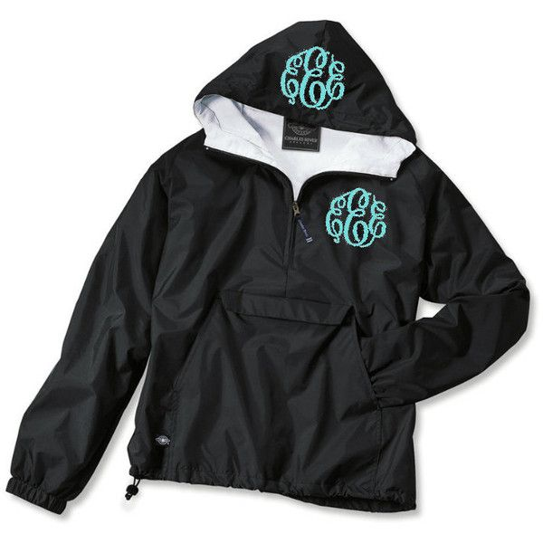 Monogrammed Flannel Lined Pullover Rain Jacket ($42) ❤ liked on Polyvore featuring outerwear, jackets, black, women's clothing, black jacket, black zip jacket, hooded rain jacket, rain jacket and black zipper jacket
