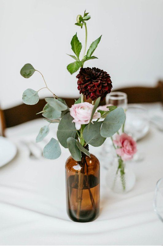 Simple wedding centerpiece with eucalyptus and burgundy + pink flowers {Rose Ave…