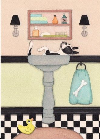 Boston terrier BT fills a sink at bath time / by watercolorqueen. , via Etsy.