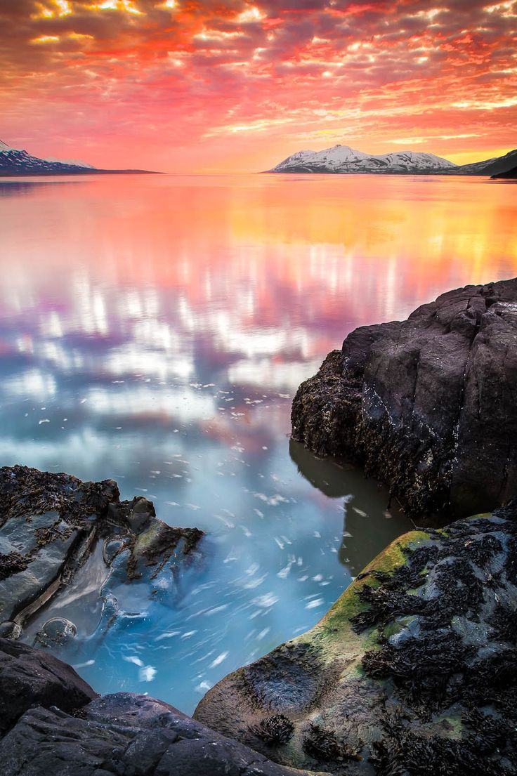 The sun sets behind Mt Kaldbakur in Eyjafjörður, North Iceland (by Helga Kvam)