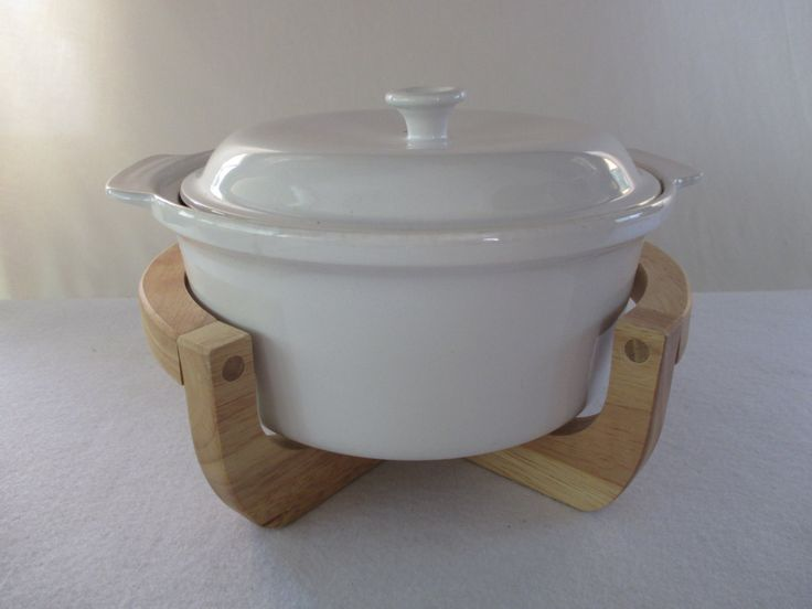 Covered Casserole in Holder, Vintage White with Wood Stand for Serving, Danish Modern Mid Century Retro Dining Kitchen Minimalist by HobbitHouse on Etsy