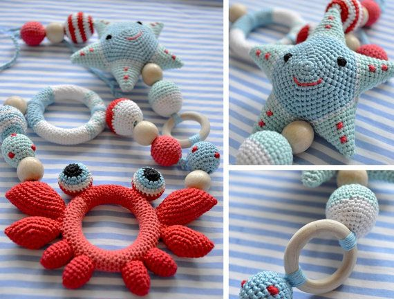 Marine necklace Ring Teether rattle star Teether crab