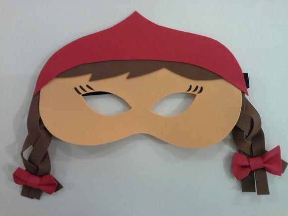 mascara em eva da chapeuzinho vermelho, ideal para lembrancinhas, pedido minimo de 5 unidades. Com a opção tambem da chapeuzinho loira. R$ 3,50