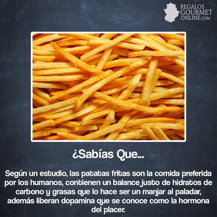 ¿#SabíasQue Según estudios, las patatas fritas es la comida preferida de los humanos? #Curiosidades #Gastronomía