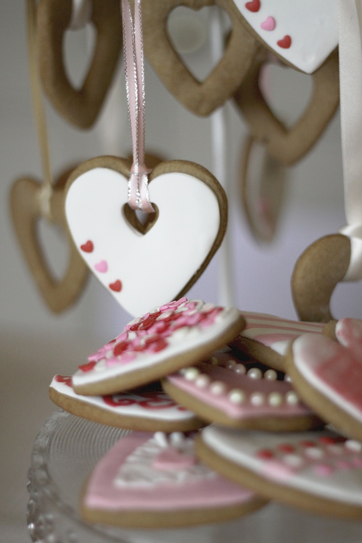 Heart shaped gingerbread cookies.