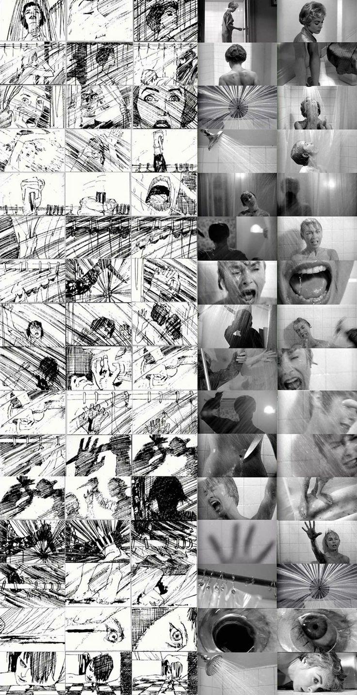 Storyboard de Saul Bass para Psycho