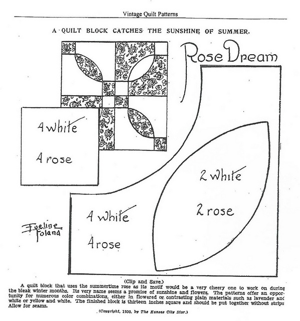 First block in my Quilt Along by Charise *, via Flickr  Rose Dream block from the Kansas City Star, 1930