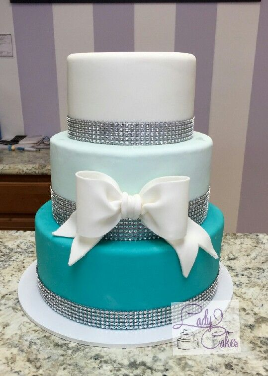 Teal ombre cake, quinceanera cake, blind cake, white and turquoise cake