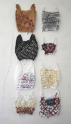 Josh Blackwell - embroidered plastic bags, I thought they were hats for cats, I guess that's just my strange imagination at work ;P